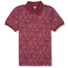 SS Dark Red Paisley Print Polo | Pretty Green | Designer fashion from Liam Gallagher