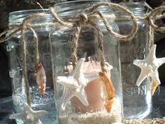Beach theme mason jar votives