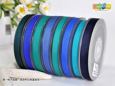 """100 yards, Polyester Grosgrain ribbon, Blue, Deep blue, 3/8"""", 9 mm, 3/8 inch by ColourfulLife, $13.00"""