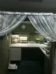 Funny office cubicle prank christmas wrapping paper photo for Cubicle privacy ideas