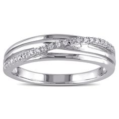 Miadora Sterling Silver Diamond Accent High-polish Ring