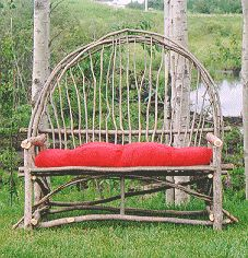 Willow Furniture made in Spruce Grove, AB Willow Furniture, Driftwood Furniture, Outdoor Furniture, Outdoor Decor, Outdoor Stuff, How To Bend Wood, Fun Crafts To Do, Rustic Chair, Porch Swing