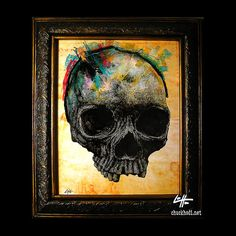 Skull  Original Drawing  Skulls Skeleton Bones Dark by chuckhodi, $90.00
