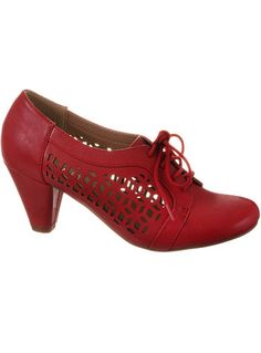 1930s cut out shoes. Riveting Rosie Cutout Oxford Heels in Cherry $64.00 AT vintagedancer.com