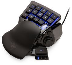Interesting pointing device; The programmable hotkeys would be useful for far more than gaming: ThinkGeek :: Razer Nostromo Gaming Keypad, $69.99