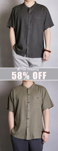f745a766 New Arrival. M-4XL Cotton Men Solid Color Casual O Neck Single Breasted  Pocket Shirts. Free Shipping.