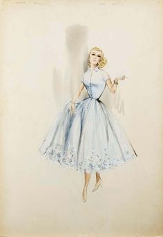 Edith Head sketch for Grace Kelly in 'High Society'