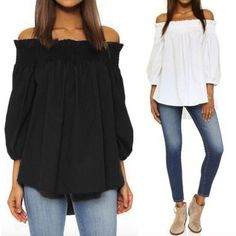 Zanzea 2017 Sexy Summer  Off Shoulder Casual 3/4 Sleeve Loose Tops also Plus Size