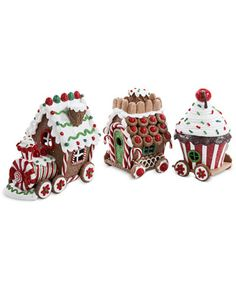 Add some color and light to your holiday decor with this 3 piece train set by Kurt Adler. Each piece in this set features a fun gingerbread house-inspired design in the style of different parts of a t