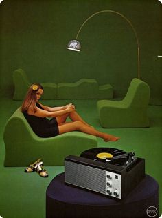 The Vinyl Lounge- In Stereo Hi-Fi phonautograph philips .thanks-Retro turntable and shagadelic seating.