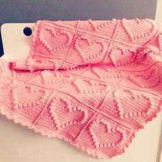 Hand-Knitted Crochet Bobble Heart and Bowknot Blanket Free Pattern - Lap Blanket, Crochet Craft, Pink Blanket - LoveItSoMuch.com