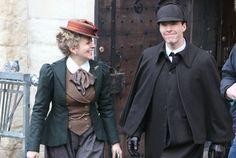 Amanda Abbington & Benedict Cumberbatch in Victorian costume on set filming the one-off Sherlock special