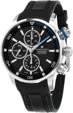 Maurice Lacroix Pontos S Chronograph Men's Black Dial Black Rubber Strap Swiss Automatic Watch PT6008-SS001-331-1