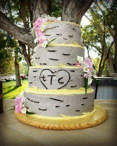 Margaret's Cakes: Aspen Tree Wedding Cake with pink sweet peas