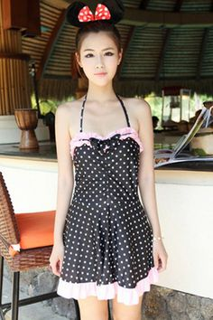 Polka Dot Halter Swimsuit Dress - OASAP.com