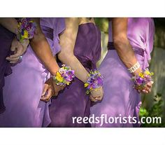Pretty corsages perfectly compliment the purple theme. Purple Themes, Corsages, Compliments, Bride, Pretty, Cute, Wedding, Fashion, Wedding Bride