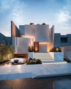 📐 By @ rab_arquitectura . Modern Exterior House Designs, Dream House Exterior, Modern Architecture House, Futuristic Architecture, Modern House Design, Exterior Design, Architecture Design, Computer Architecture, Luxury Modern House