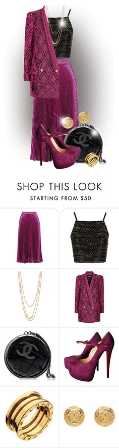 """Pink and Black"" by elona-makavelli ❤ liked on Polyvore featuring Christopher Kane, Topshop, Gorjana, Balmain, Chanel, Christian Louboutin, Bulgari and Versace"