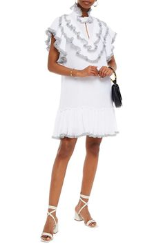 White Ruffle-trimmed printed plissé-georgette mini dress | Sale up to 70% off | THE OUTNET | SEE BY CHLOÉ | THE OUTNET Dress Sale, Dresses For Sale, Coat Dress, Jacket Dress, Dress Outfits, Fashion Dresses, Chloe Clothing, Beach Wear Dresses, See By Chloe