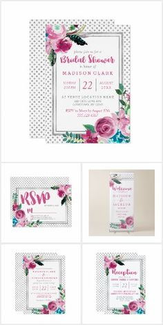 Chic Pink & Silver Dot Floral - Wedding Suite