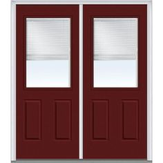 Milliken Millwork 62 in. x 81.75 in. Classic Clear Glass RLB 1/2 Lite 2 Panel Painted Majestic Steel Exterior Double Door, Red