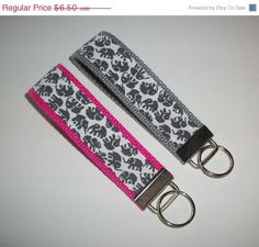 SALE  Key FOB / KeyChain / Wristlet   Gray Grey Elephant by Laa766, $6.00