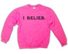 #BELIEVE #BELIEVEACOUSTIC #BELIEBER #BIELIEB #IMABELIEBER #BIEBS #THEBIEBS #JUSTINBIEBER   I Belieb Justin Bieber Sweatshirt - Fans Belieb Believe Believer Belieber Pink Crewneck Sweater Jumper 021. $25.00, via Etsy.