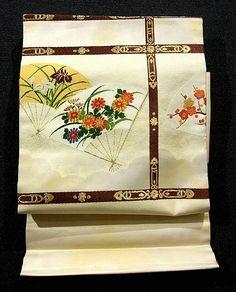 Classical Floral Fan Pattern Nagoya Obi