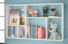 Kids Slimline Bookshelf - Meike at STORE. Perfect for storing paperback books, collections and o. Wall Bookshelves Kids, Wall Mounted Bookshelves, Small Bookshelf, Floating Shelves Bedroom, Floating Bookshelves, Floating Wall, Playhouse Interior, Boy Room, Child Room