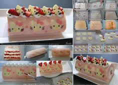 Ako DIY Cute Hello Kitty Swiss Roll