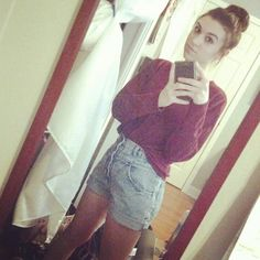 Thrift shop sweater + thrift shop old granny pant I cut into high-waisted shorts + sock bun (with an actual sock)