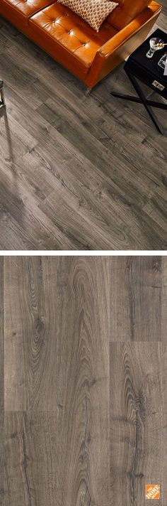 This is among the most advanced laminate flooring available. Pergo's Outlast+ flooring features new technology that defends against household spills for up to 24 hours. Its deep wood grain texture and beveled edges also give it an amazingly authentic look of natural wood. Here we see it in a lovely pewter gray, but Outlast+ comes in six other gorgeous shades. See it exclusively at The Home Depot.