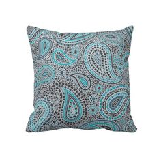 Ocean Blue paisley Pillow #zazzle #throwpillows #pillows