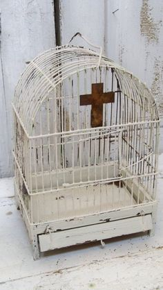 White birdcage rusty metal wire hand painted by AnitaSperoDesign, $70.00