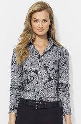Lauren Ralph Lauren Paisley Cotton Poplin Shirt (Petite)