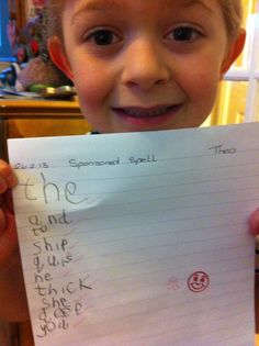 Theo got 10 out of 10 in a sponsored spelling test!