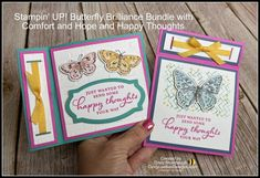Stampin' UP! Butterfly Brilliance Bundle Inside Pop Up Fun Fold Video Tutorial   Cindy Lee Bee Designs Fun Fold Cards, Pop Up Cards, Folded Cards, Easy Animal Drawings, Easy Animals, Bee Design, Happy Thoughts, Creative Crafts, Stampin Up Cards