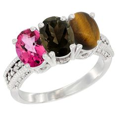14K White Gold Natural Pink Topaz, Smoky Topaz and Tiger Eye Ring 3-Stone 7x5 mm Oval Diamond Accent, sizes 5 - 10 * Quickly view this special  product, click the image : Ring Bands