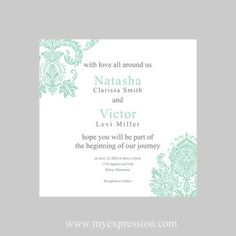 Wedding Invitation Template 5x5 Square  Mint by MyExpressionShop