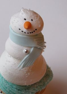 meringue snow man cake topper