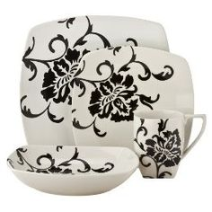 Coventry Floral Scroll Black 16-Piece Dinnerware Set Service...
