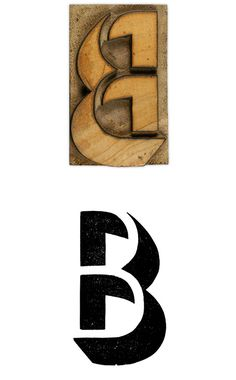 12 line Shadow wood type capital letter B