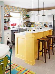 sleek and modern kitchen, Yellow kitchen island! white modern kitchen DIY Kitchen Makeover Part I: Staining Kitchen Cabinets ( this is how. Painted Kitchen Island, Kitchen Paint, Kitchen Redo, New Kitchen, Kitchen Islands, Cozy Kitchen, Kitchen Ideas, Kitchen Inspiration, Kitchen Cabinets
