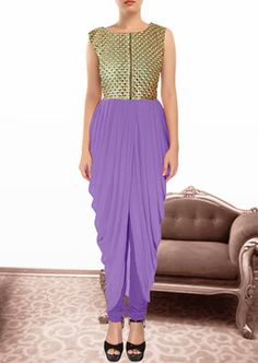 Purple gorgette and  brocade embroidered semi stitched salwar with dupatta