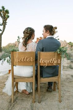 Better Together Chair signs - Laser cut chairback - Chair signs - Engagement party decor - wedding decor - wedding signs - rustic decor