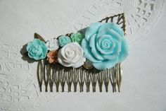 Cabochon utopia bridal bride hair pin comb romantic vintage modern flowers antique victorian blue mint white shabby chic leaf filigree by AdoredByYou on Etsy