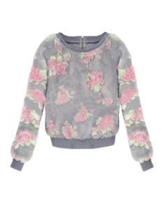 Fluffy Floral-pattern Zipped Knit Sweater | BlackFive