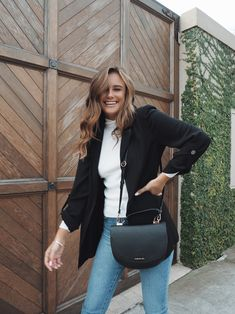 A blazer, knit and jeans combo will carry you from work to weekend with minimal fuss. Darcy wears the Linda Blazer, Kiri Jumper and Patricia Bag. New March, Forever New, Smock Dress, Signature Style, Dress Outfits, Dresses, True Beauty, Vegan Leather, Jumper