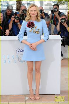 Diane Kruger at Cannes Film Festival 2015 : Diane looked great after a long time in a Dolce & Gabbana short dress with nude strappy Jimmy Choo heels. Her hairstyle and makeup is perfect. I like how she looked.
