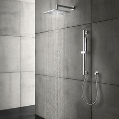 "Blu rain TE440 showerhead, chrome, 16"", 2.0 gpm @ 80psi Blu TD204 wand handshower"